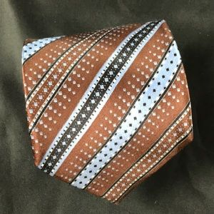 Brioni brown and blue striped tie made in Italy